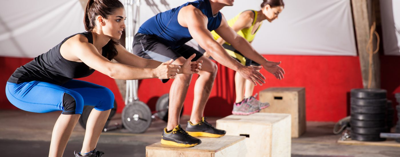 Jumping exercises at a gym1